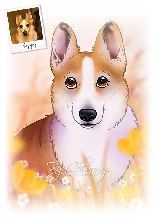 Example of cartoonized portrait of Happy the corgi